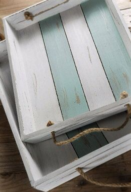 Rustic painted wooden trays w rope handles set/2