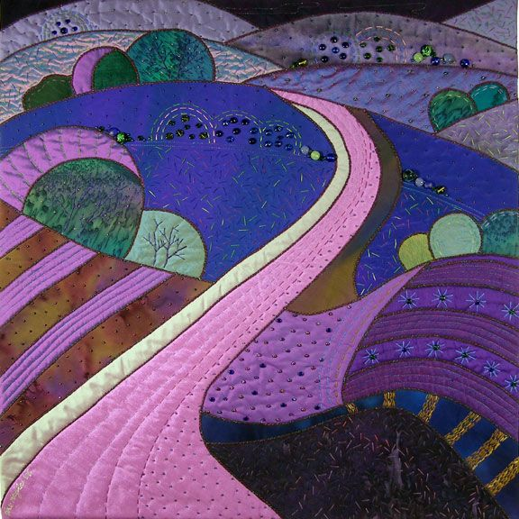 my own pathway -- inspired the cover of my first book -- The Dream Landscape: Bricks Roads, Mondays Muse, Quilts Paysage, Quilts Landscape, Landscape Quilts, Roses Hugh, Artquilts, Quilts Artists, Art Quilts