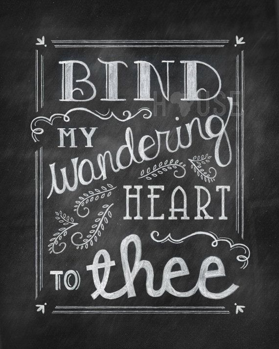 Chalkboard art Print - Wandering Heart 8x10 by kendrahouse on Etsy