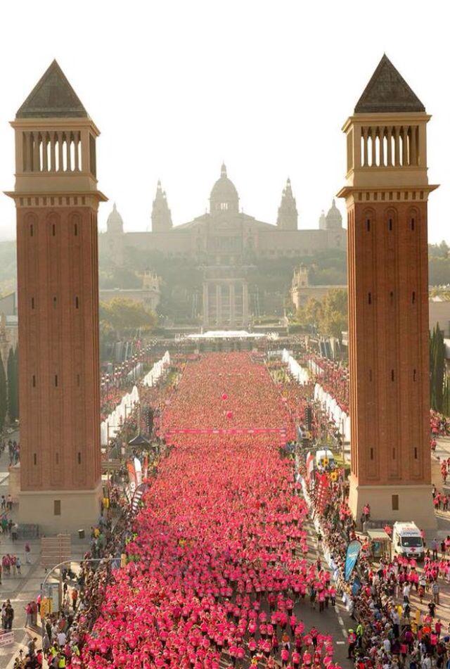Entrada a Montjuich (Maratón de Barcelona, España). Toca pasar entre las torres de plaza España para finalmente llegar abajo de las escaleras que conducen al MNAC.