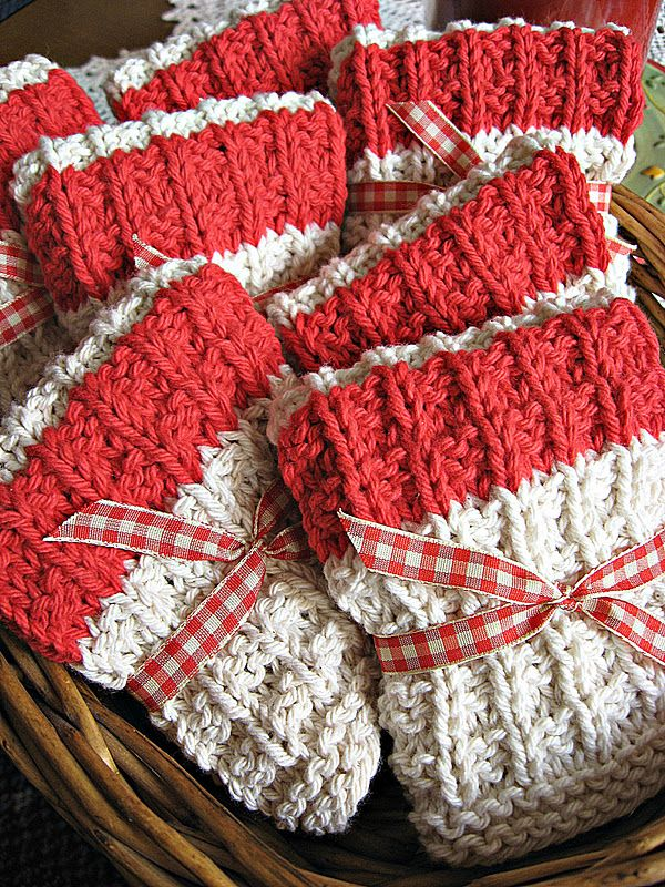 Knit dishcloths: Cast on 38 stitches. Knit 3 rows for border. Row 1: (right side): Knit. Row 2: K 3, purl to last 3 stitches, k 3. Row 3: K 3, (P 2, k 1) 10 times, p 2, k 3. Row 4: K 3, (K 2, p 1) 10 times, k 5. Repeat these 4 rows, 6 times. If a colored center stripe is desired, change yarn now and work rows 1 – 4, 2 times in desired color. Change back to main color and work the 4 row pattern, 6 times. Knit last 4 rows. Bind off and weave in ends.