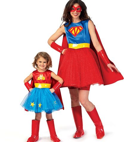 mother daughter superhero costume patterns from mccalls with tutus - Childrens Halloween Costume Patterns
