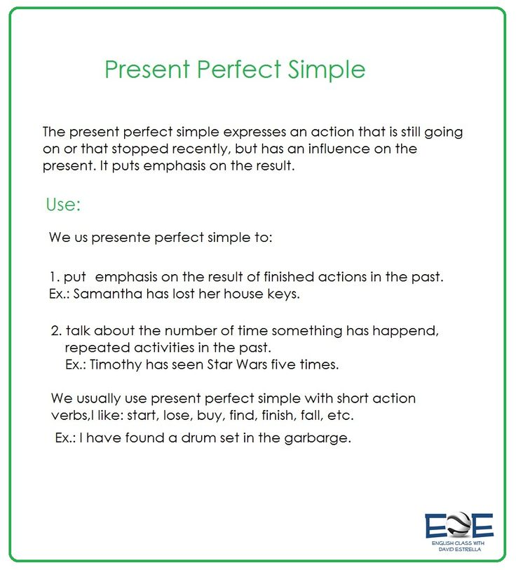 Explains the use of Present Perfect Simple for an intermediate level.