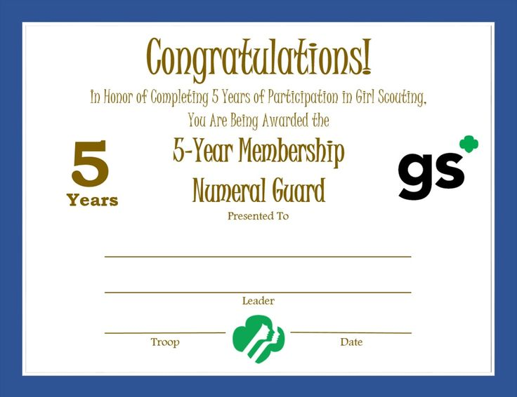 164 best girl scouts certificate images on pinterest girl scouts girl scout 5 year membership certificate yelopaper
