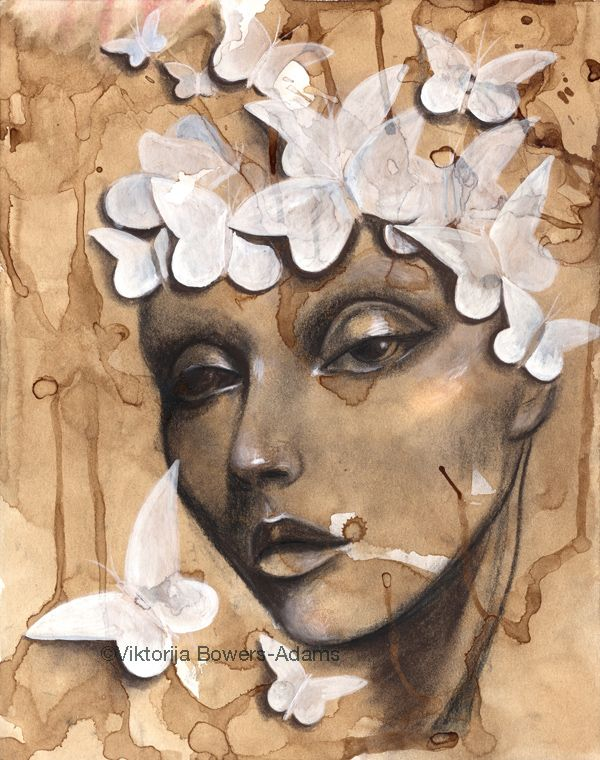 Coffee Painting Papillon By Viktorija Bowers Adams