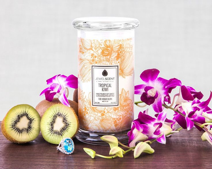 Go back to your favorite tropical destination with the delicious scent of kiwi and exotic tropical floral. Find a hidden ring surprise worth $10 to $7500 in each of our hand-made, all natural soy candles.