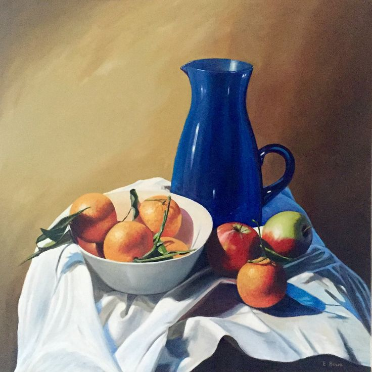 Large Blue Jug Emerboweart.  Buy it now on my etsy > https://www.etsy.com/ie/people/emerbowe?ref=hdr_user_menu #Painting #oiloncanvas #Art #oilpainting #oil #canvas #paint #irish #irishartist #EmerBowe #Blue #Stilllife #oranges #orange #apples #apple #cloth #still