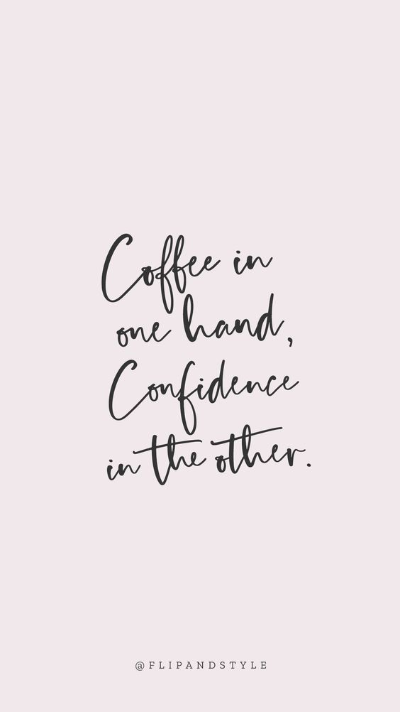 ♡ Blush pink background, lettering font – coffee & confidence