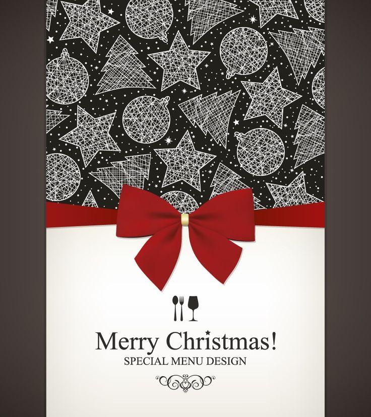 Christmas menu and bows design vector