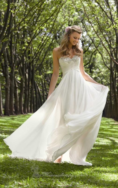 Simple Strapless Beading Chiffon Wedding Dress