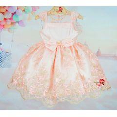 Vestido Infantil de Festa Petit Cherie Renda Rosa e Dourado