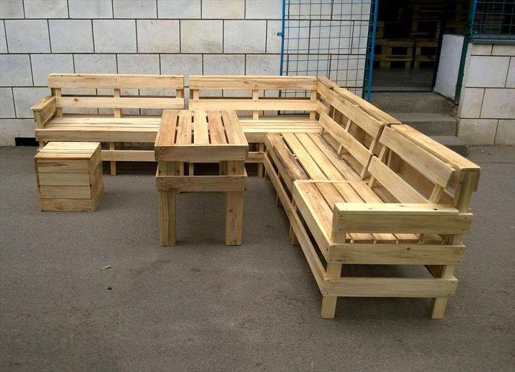 beefy pallet L-shape patio sofa set
