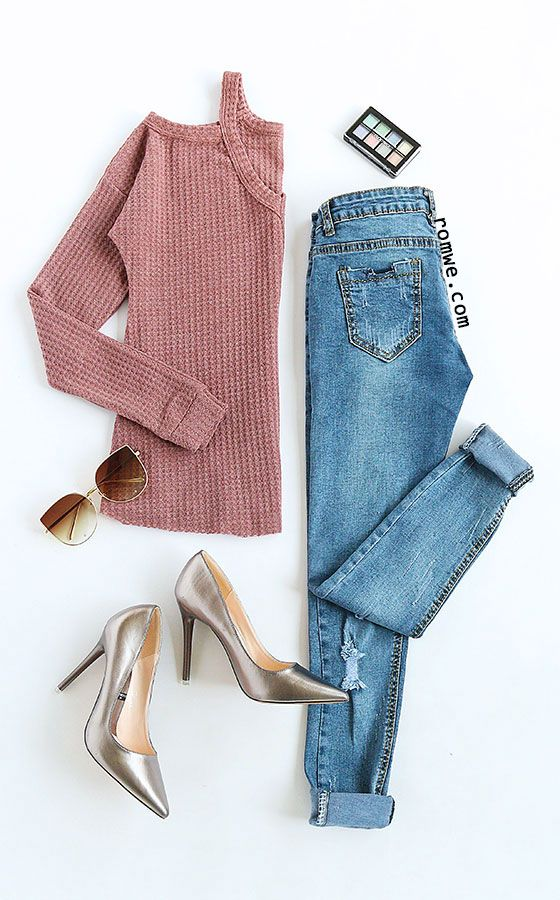 Pink Waffle Knit Cold Shoulder T-shirt