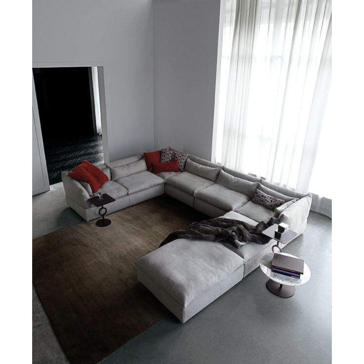Swan Italia Compos 07 C1 Corner Group And Pouf. Versatile Modular Sofa Unit  With Pouf