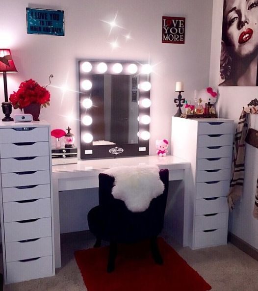 Marilyn inspired makeup room Black Broadway Mirror + White Ikea desk & drawers