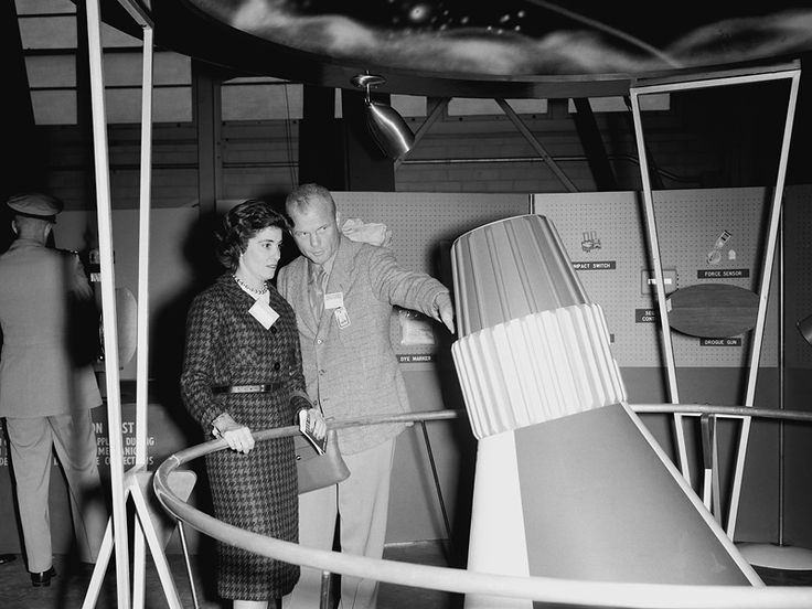 John Glenn explains a feature of the Mercury capsule to his wife, Annie, during one of her visits to NASA Langley in 1959.