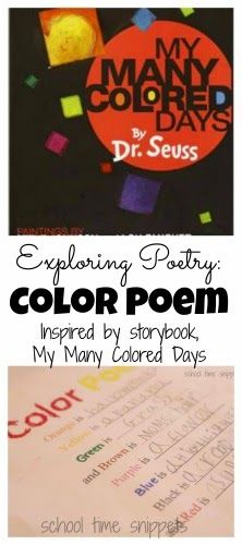 """Write a Simple Color Poem: Activity inspired by Dr. Seuss's """"My Many Colored Days"""". *Includes Color Poem Template!"""