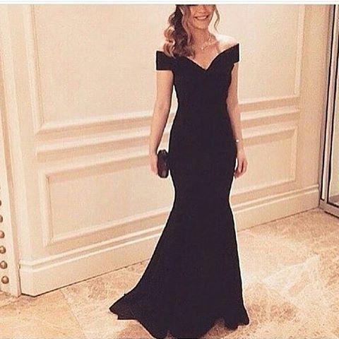 Black Off The Shoulder Satin Mermaid Prom Dress, Evening Dress, Formal Gown 2017
