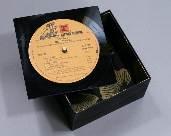 Groovy Little Box With A Lid Handmade From Recycled Vinyl Record Neil Young Decade Little Boxes Post It Pad Handmade
