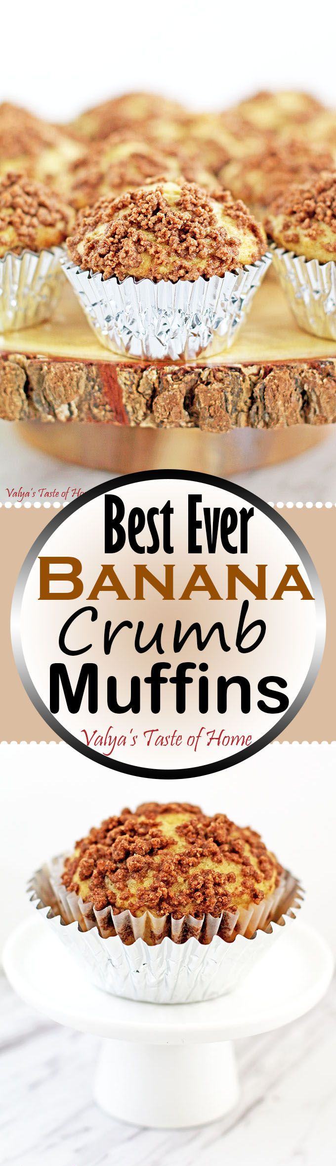 These Best Ever Banana Crumb Muffins are the easiest thing you can ever make! They are always a wonderful snack to have available at hand. When made at home, they consist of only a few and best-quality ingredients compare to the store bought version, but taste a million times better! As they freeze perfectly, you can always make double portions to last the busy days you are unable to drop things to bake.