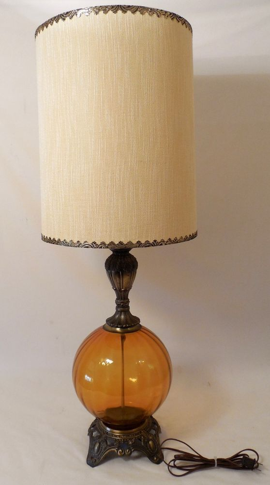 Mid Century Modern Amber Table Lamp Brass With Original