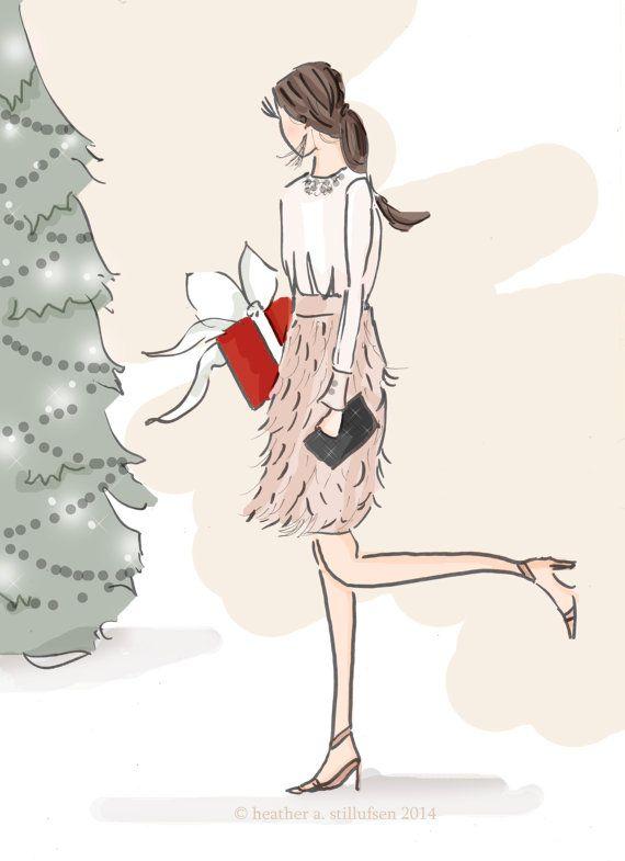 Christmas Wall Art  Fashion Illustration by RoseHillDesignStudio