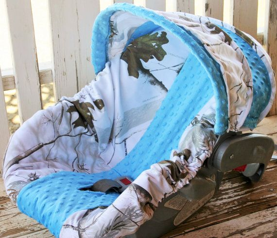 Realtree snow camo with teal minky  car seat by SqueakyBugBabies