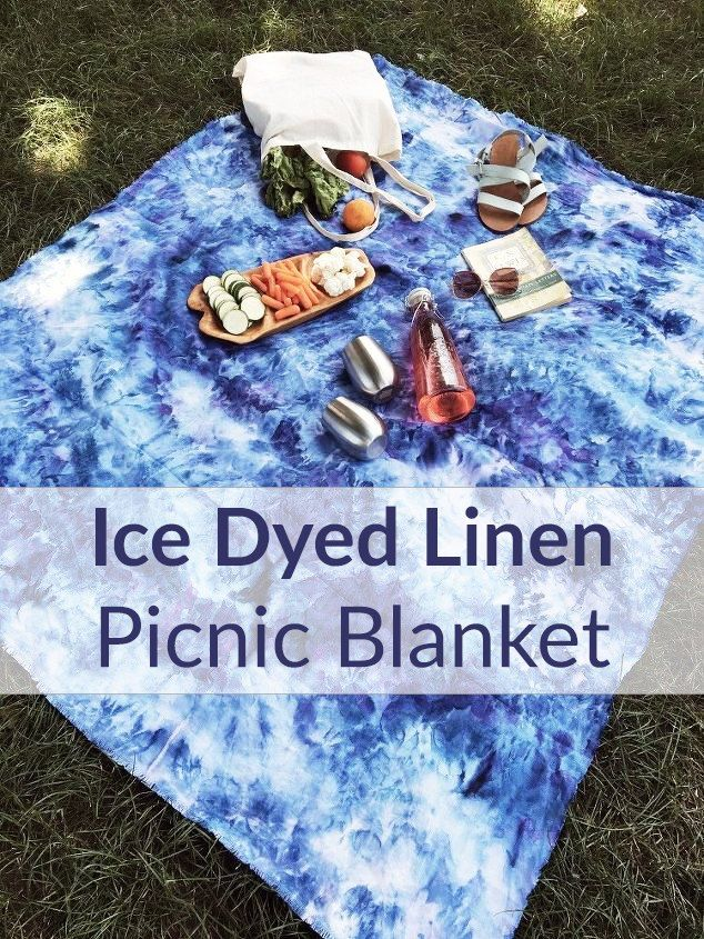 How to Ice Dye a Linen Beach/Picnic Blanket