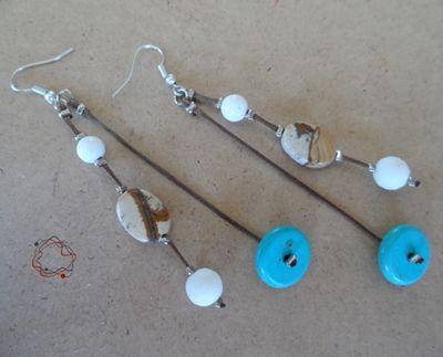Coral, Garnet & Turquoise Earrings