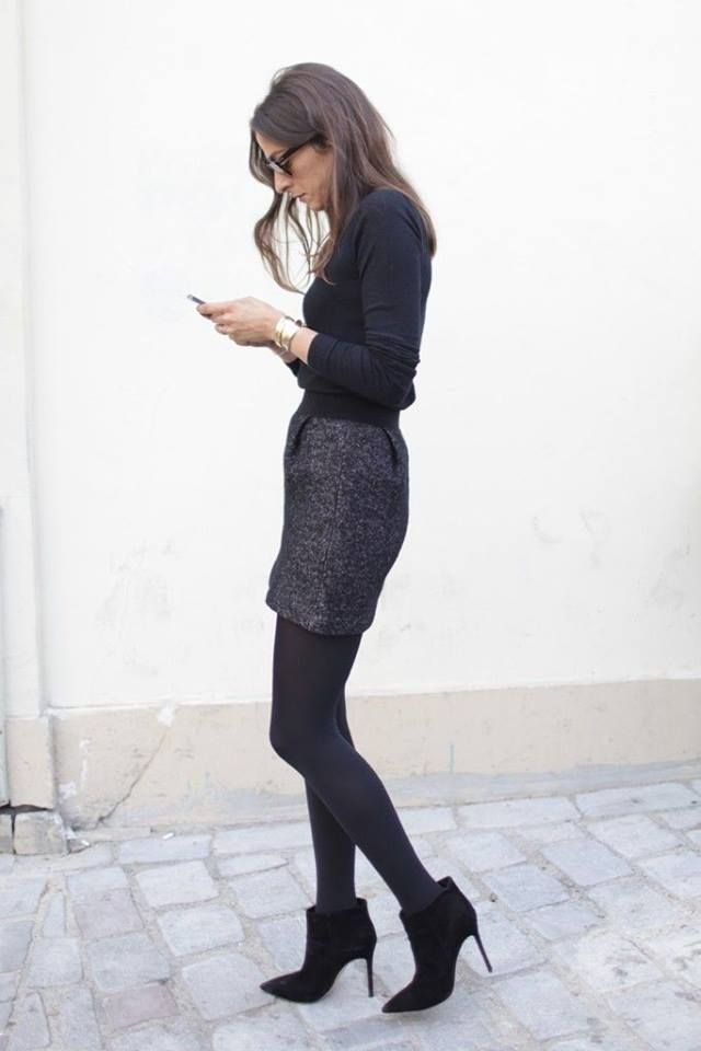 Love this looks like Parisian chic to me but could be mistaken mostly the boots and skirt I like xx