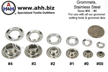 Stainless Steel Grommets sizes #00 - #4