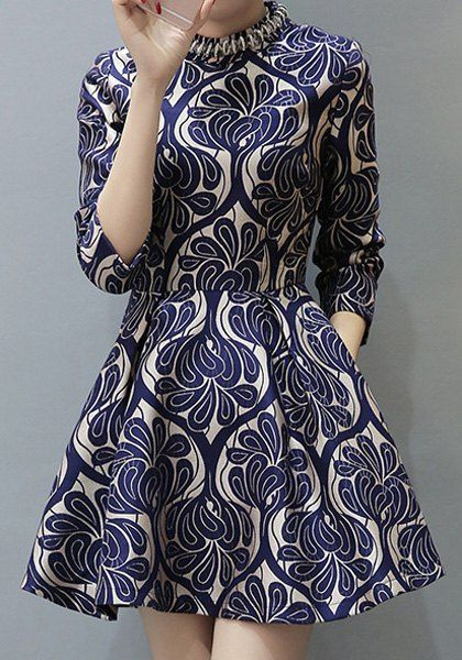 Elegant Stand Collar 3/4 Sleeve Retro Print A-Line Dress For Women