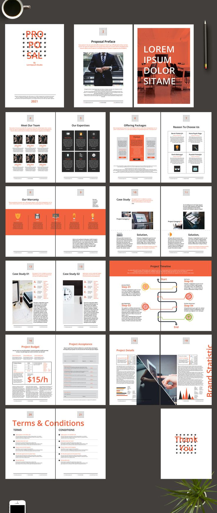 Business Plan Proposal Layout With Red Accents. Kaufen Sie