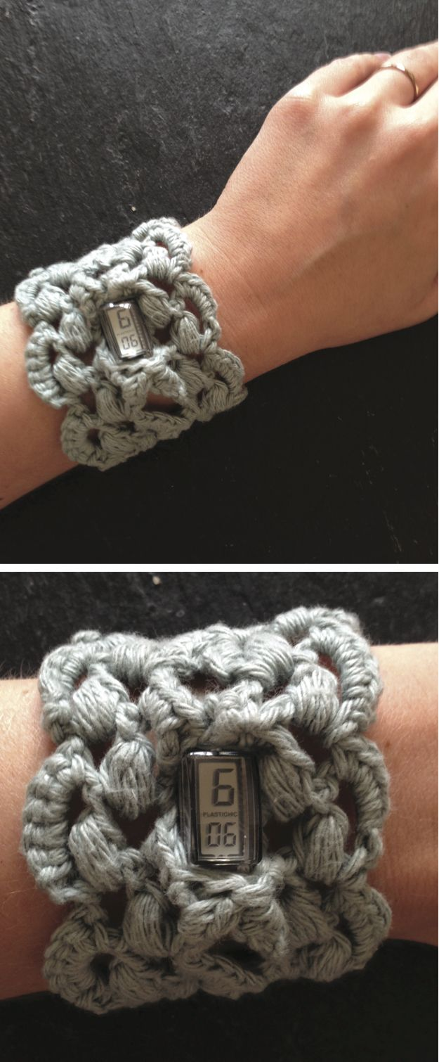 I love this bracelet but it seems a bit much to wear this on one wrist and your wrist watch on the other. Problem solved: make the bracelet a wrist watch! :) Done from recipe found at http://lamailleaudoigt.canalblog.com/archives/2010/03/20/17303163.html