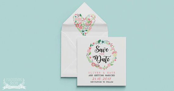 Floral Wreath ~ Save The Date ~ DIY Template Printable