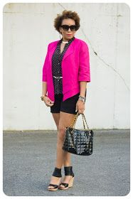 "I'd been wanting a pink blazer for a while now.  And I've also been seeing a lot of softly tailored blazers and I knew I wanted something not so ""normal"".  http://www.ericabunker.com/2012/03/review-vogue-8721-hot-pink-blazer.html"