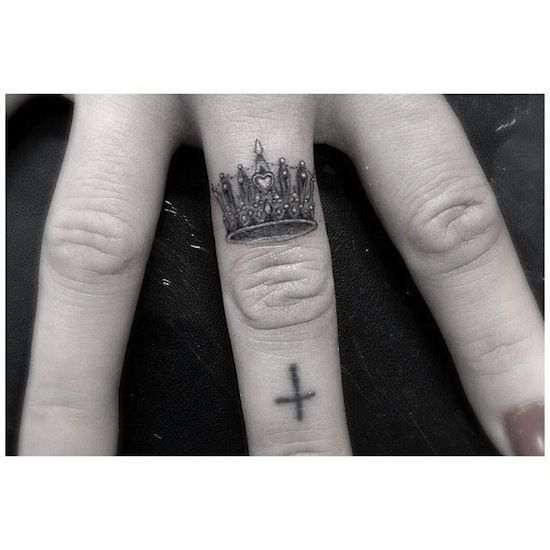 crown by Dr.Woo   finger tattoos   egodesigns