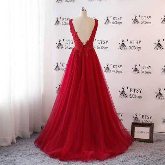 f3c36806d5 2018 Prom Dresses Long Red Applique Evening Dresses Open Back Floral ...