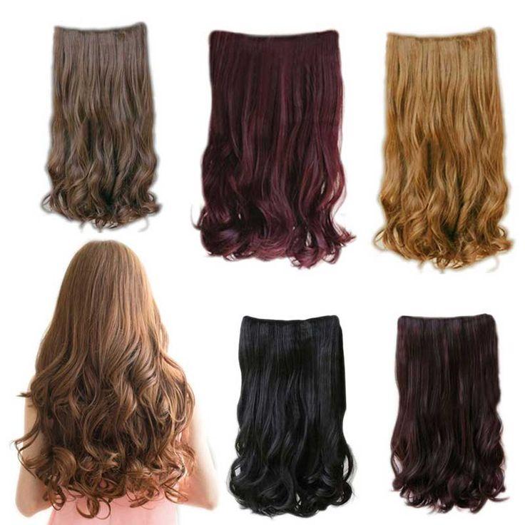 5 Clips In 70 cm wanita bergelombang panjang keriting pada rambut ekstensi, Kepala penuh atas
