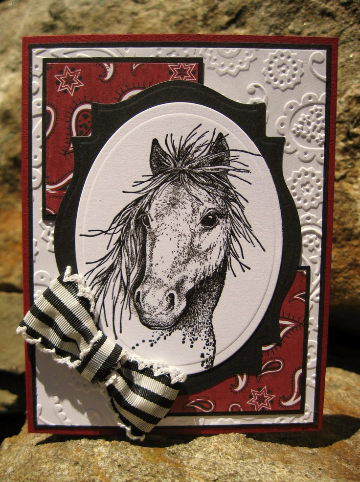 mustang card over bandana and paisley embossing