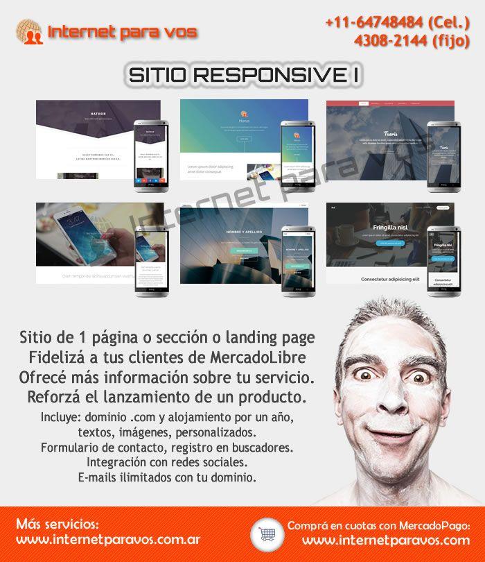 Sitio responsive de una sección o landing page. Incluye hosting y dominio .com por un año. Internet para vos. Diseño web #sitioweb #desarrolloweb #responsive #html5 #landingpage #internetparavos #diseñoweb