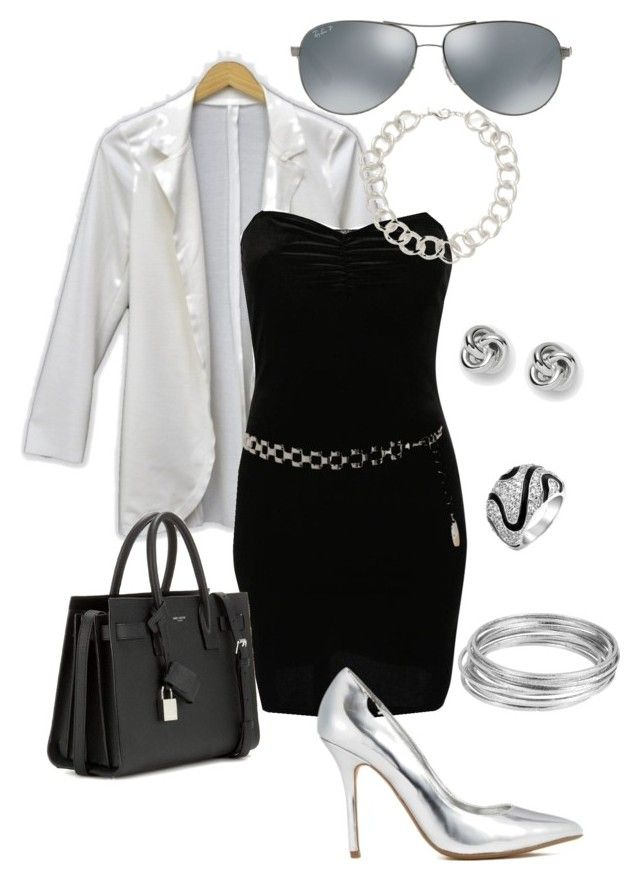 My monday outfit by denise-andreozzi on Polyvore featuring moda, Pilot, Yves Saint Laurent, Worthington, Rivka Friedman, FOSSIL, Bling Jewelry, Ray-Ban and Ashley Stewart