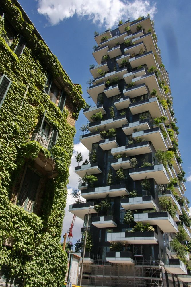 Bosco Verticale in Milano by Stefano Boeri. Carbon off-setting, vertical gardening on tower block.