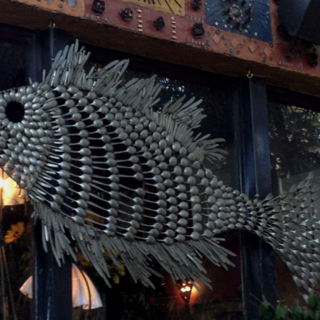 Fish sculpture made of spoons and knives - next project!