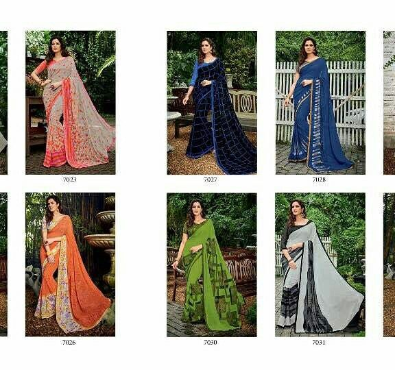 Dear customer   Ladies print Saree collection  Stree Vol 2  Fabric-Georegtte  Design -18 Pieces   Rate - best selling price for single & multiple  & only full set    Call & whatup +91-9413880140  And see more collection of ladies suit,saree, kurti,lengha and other collections of ladies  on  my Facebook page https://www.facebook.com/Fashion-fab-1450544898577078/  Thanks again for your help and support chhaiye   I hope for ur order on my whatup no +91-9413880140  Booking start   Fast only one…