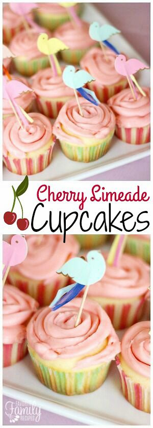 These Cherry Limeade Cupcakes are brushed with a zesty fresh lime syrup and then topped with a sweet cherry frosting. A bright, tangy, summer dessert! via @favfamilyrecipz