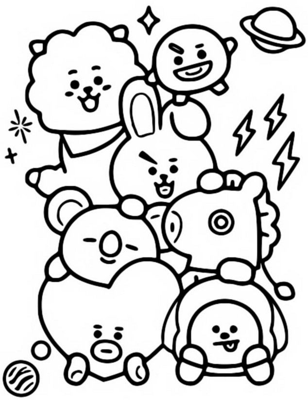Pin By Pink On Bts Coloring Pages Easy Doodle Art Bts Drawings