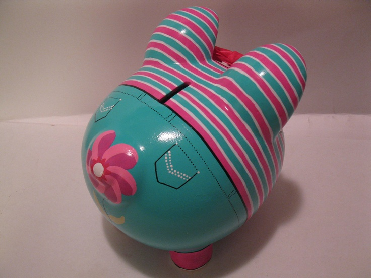 Tomboy Piggy Bank, Personalized w/Jeans & Striped Shirt w/ Hi-Tops to match -  MADE TO ORDER. $42.00, via Etsy.