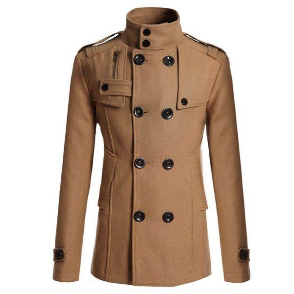 Mens Slim Double-breasted Trench Coat Long Windbreaker - US$43.87