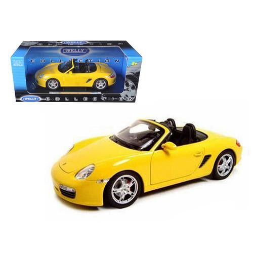Porsche Boxster S Convertible Yellow 1/18 Diecast Model Car by Welly